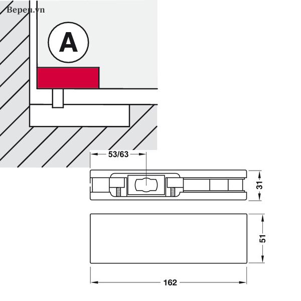 Kích thước KẸP KÍNH DƯỚI HAFELE 981.00.003