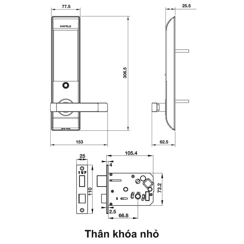 Kích thước KHÓA ĐIỆN TỬ HAFELE EL7500-TC 912.05.682