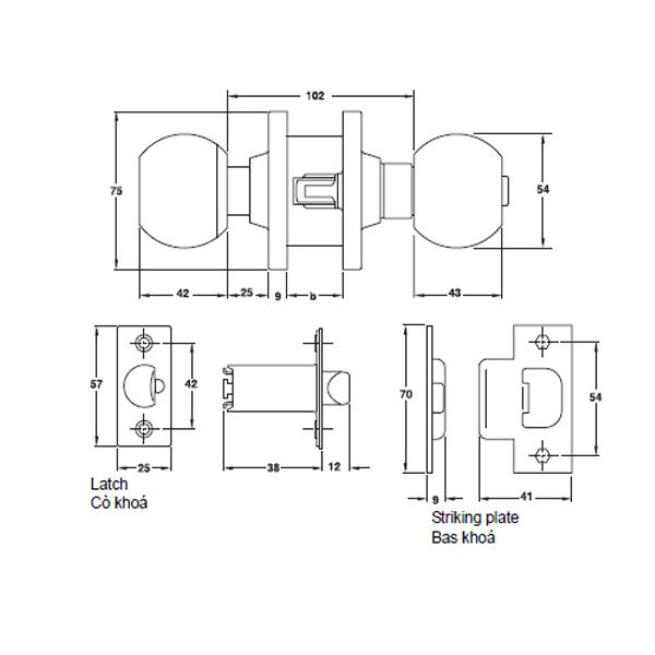 Kích thước khóa tròn vệ sinh hafele 911.64.684