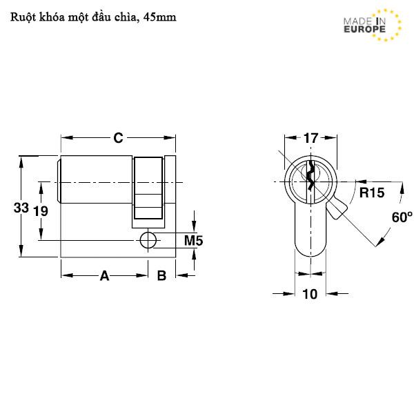 Kích thước Ruột khóa hafele 916.96.117