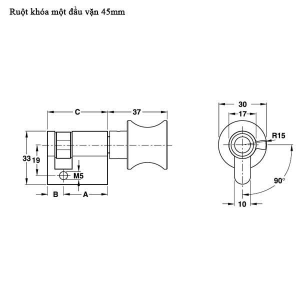 Kích thước Ruột khóa một đầu vặn hafele 916.64.035