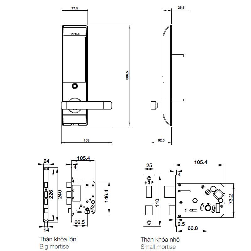 Kích thước Khóa điện tử Hafele DL7900 - TCB
