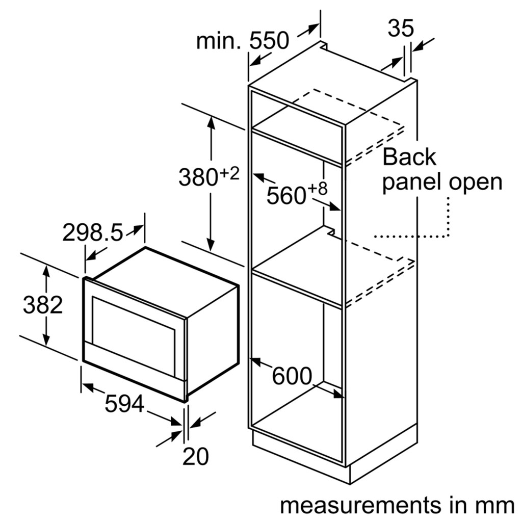 Kích thước lò vi sóng Bosch BEL520MS0K