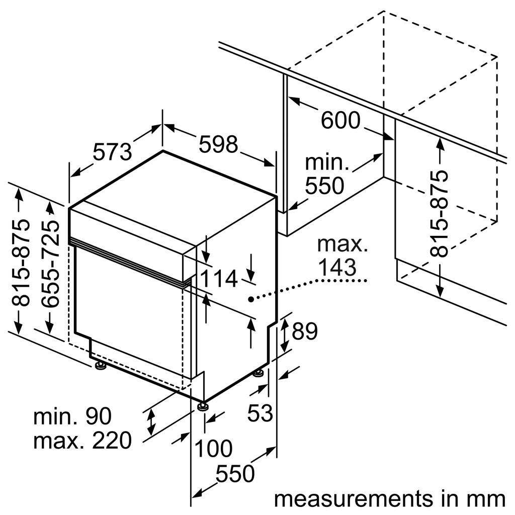 Kích thước Máy rửa bát Bosch SMI68TS06E