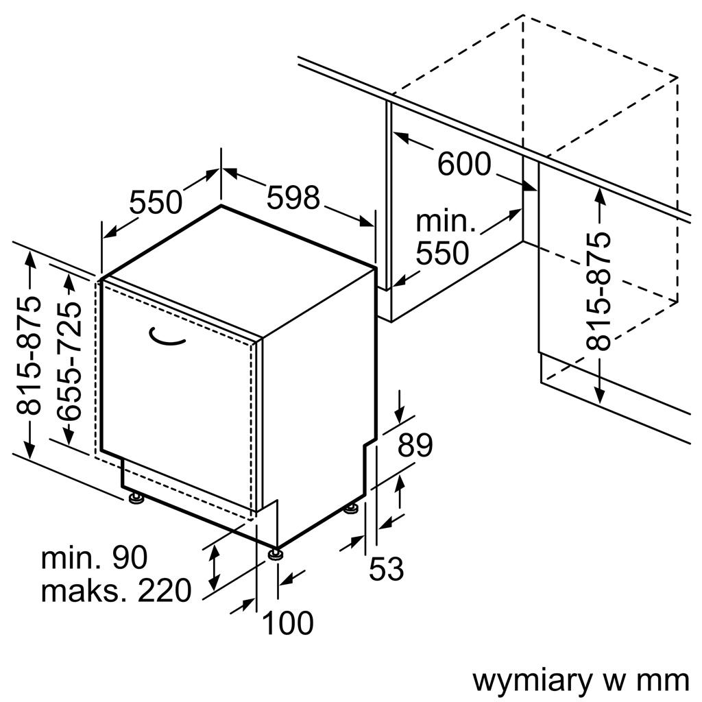 Kích thước Máy rửa bát Bosch SMV4ECX26E