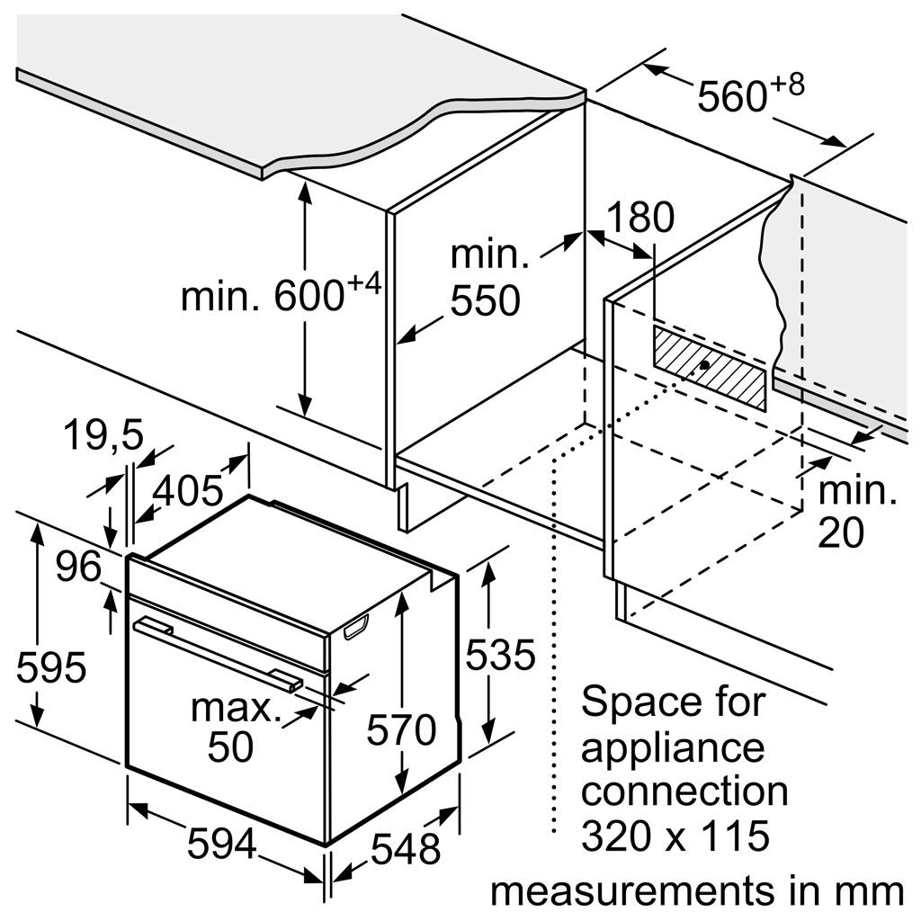 Kích thước Lò nướng Bosch HBG5370B0