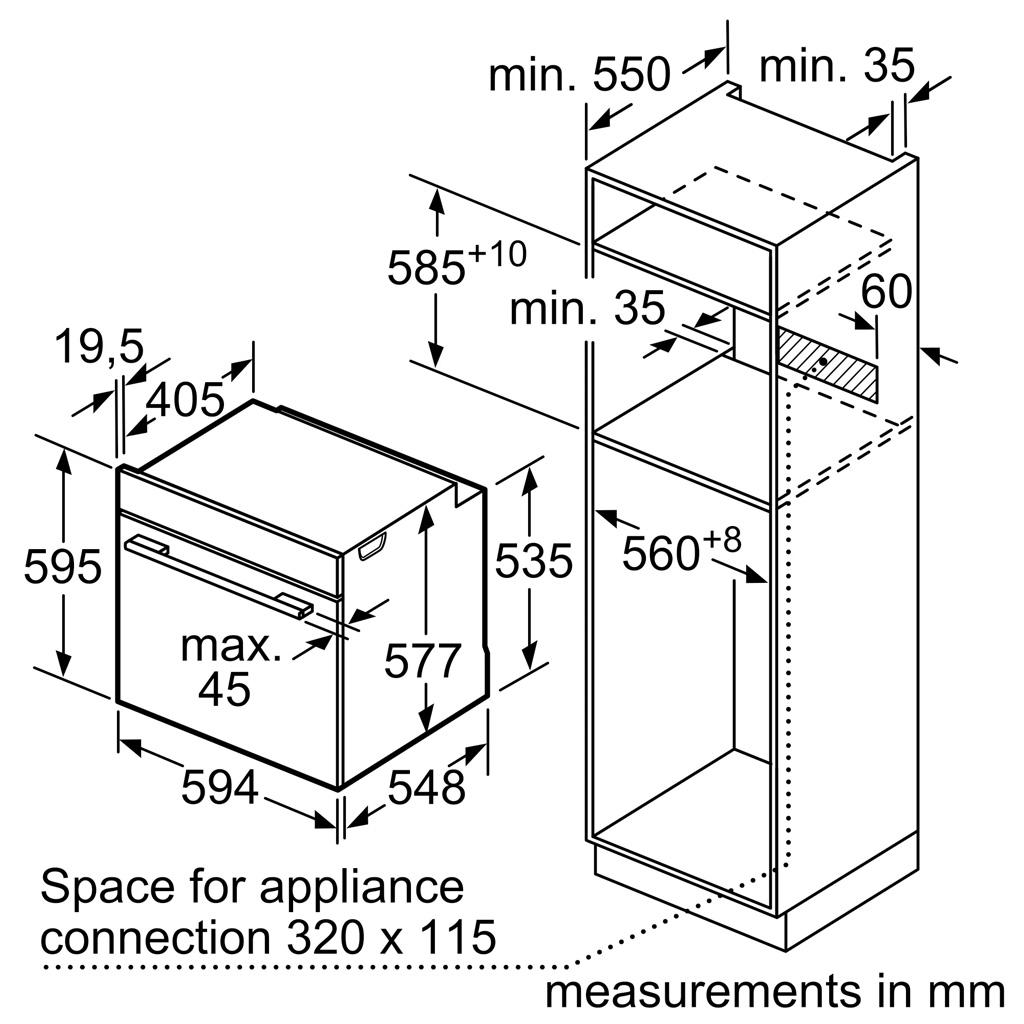Kích thước Lò nướng Bosch HBG674BS1B