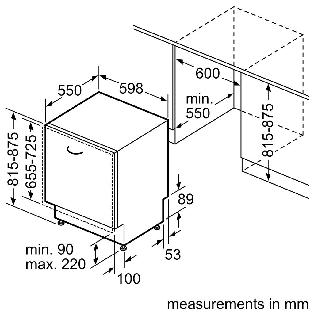 Kích thước Máy rửa bát Bosch SMV4HCX48E