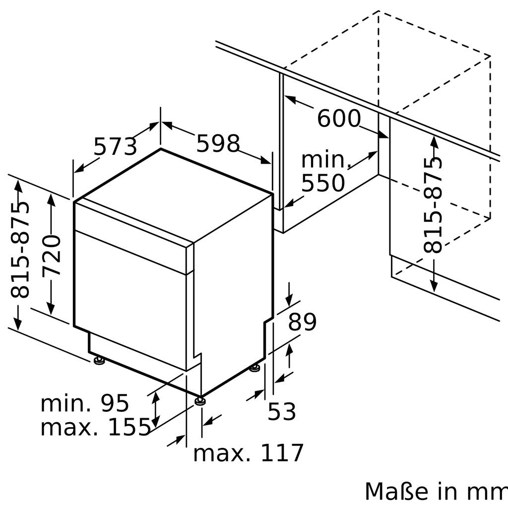 Kích thước Máy rửa bát Bosch SMU6ECS57E