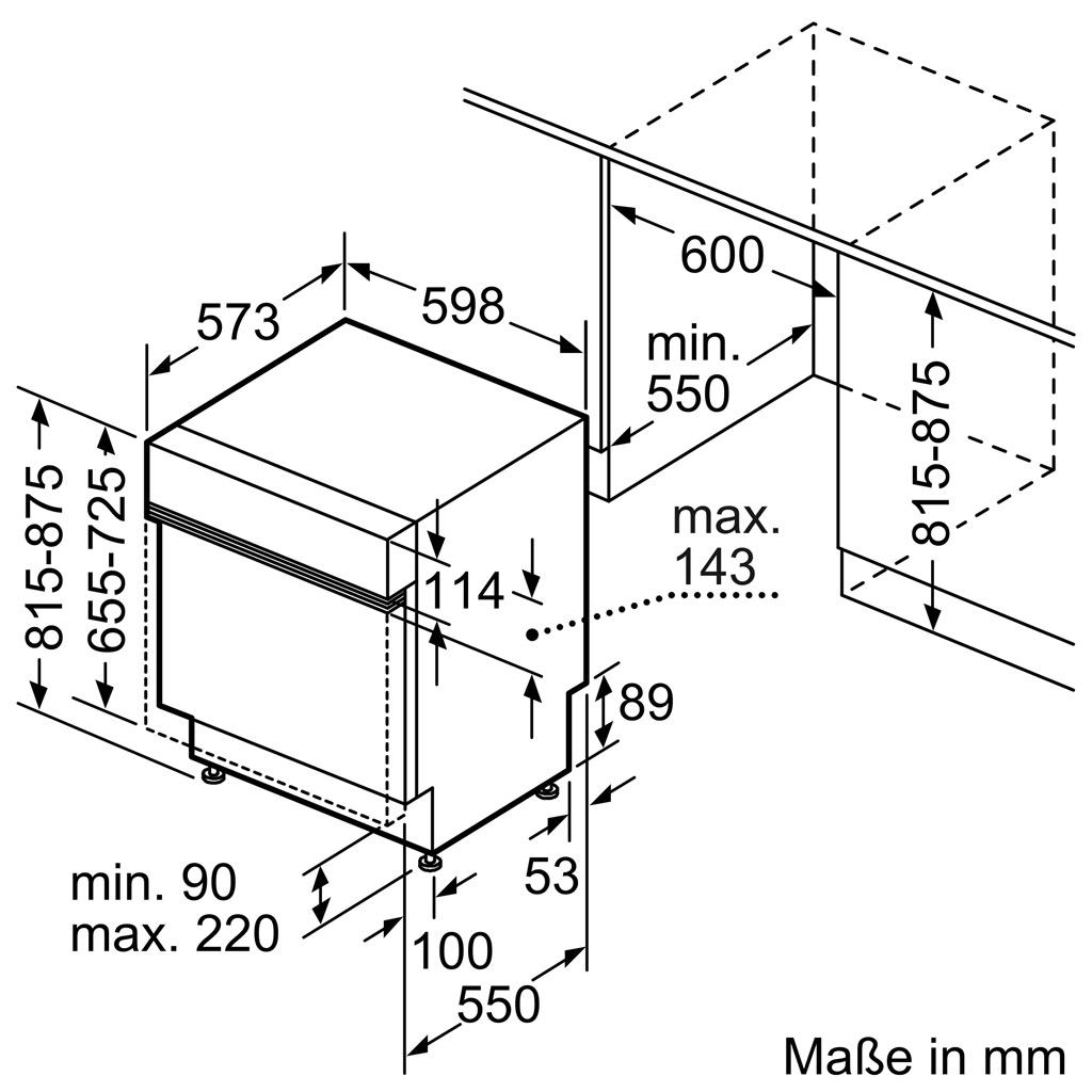 Kích thước Máy rửa bát Bosch SMI8YCS03E