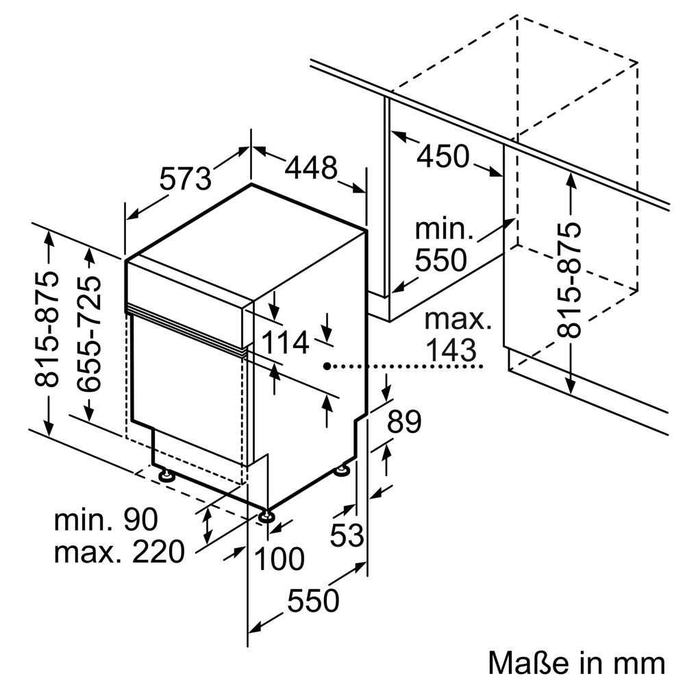 Kích thước Máy rửa bát Bosch SPI6YMS17E