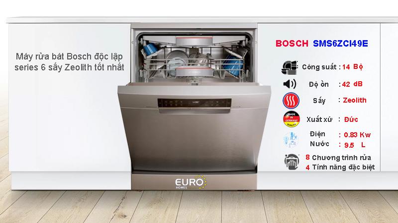 Máy rửa bát Bosch series 6 SMS6ZCI49E